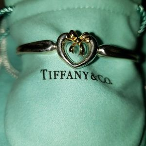 TIFFANY 18KT BOW/925 HEART BANGLE